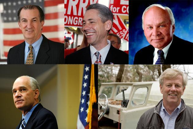 MAN IN THE MIDDLE: Clockwise from top left: Joe Malone (Courtesy of Joe Malone for Congress), Rep. Jeff Perry (AP), Ray Kasperowicz (Ray Kasperowicz for Congress), Sen. Robert O'Leary (Robert O'Leary for Congress) and Norfolk District Attorney William Keating (AP). Of the 10th district's remaining contenders, Perry is the frontrunner.