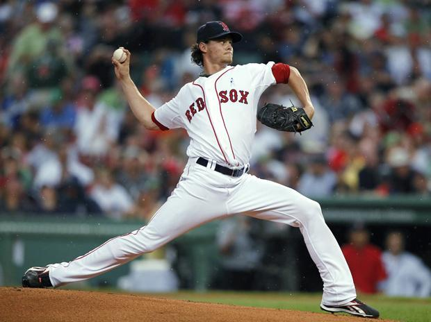 Boston's Clay Buchholz pitches in the first inning of the game against Los Angeles on June 20 in Boston. (AP)