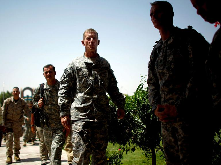 U.S. Army Gen. Stanley McChrystal enters a conference Tuesday in Kandahar, Afghanistan. (David Gilkey/NPR)