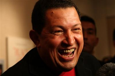 "President of Venezuela Hugo Chavez before a screening of Oliver Stone's Chavez documentary ""South of the Border"" in New York. (AP)"