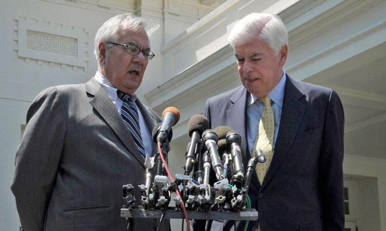 House Financial Services Committee Chairman Rep. Barney Frank (left) and Senate Banking Committee Chairman Sen. Christopher Dodd speak to the media about the financial overhaul in May.