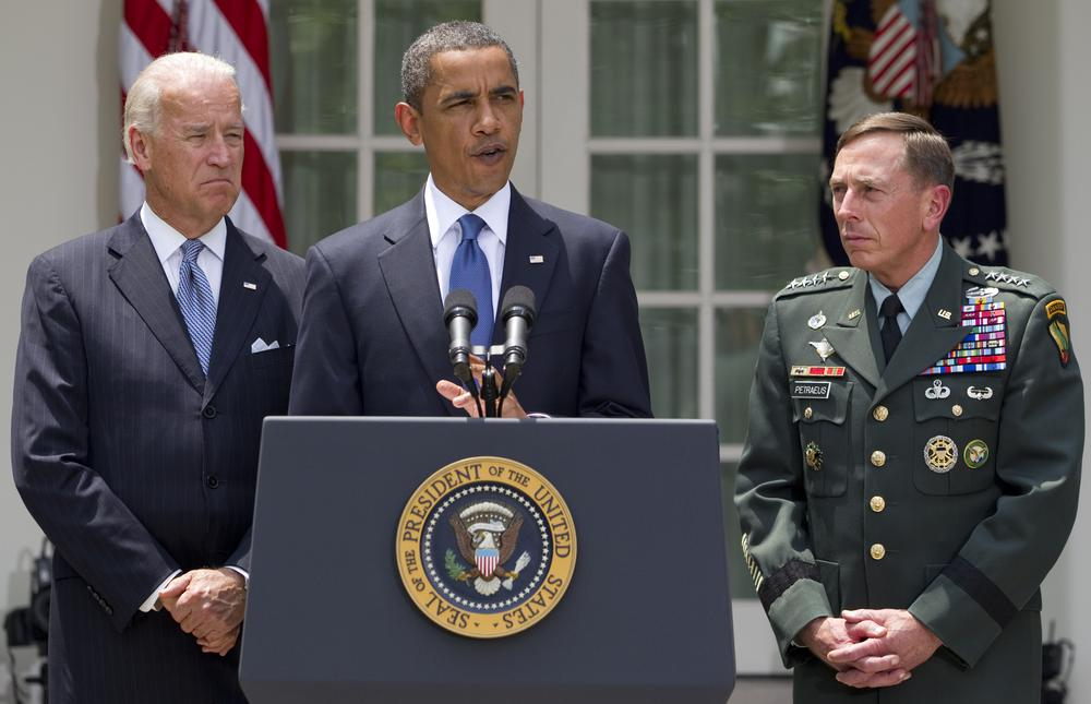 President Barack Obama, accompanied by Vice President Joe Biden and Gen. David Petraeus announces that Petraeus would replace Gen. Stanley McChrystal as the top commander in Afghanistan. (Evan Vucci/AP)