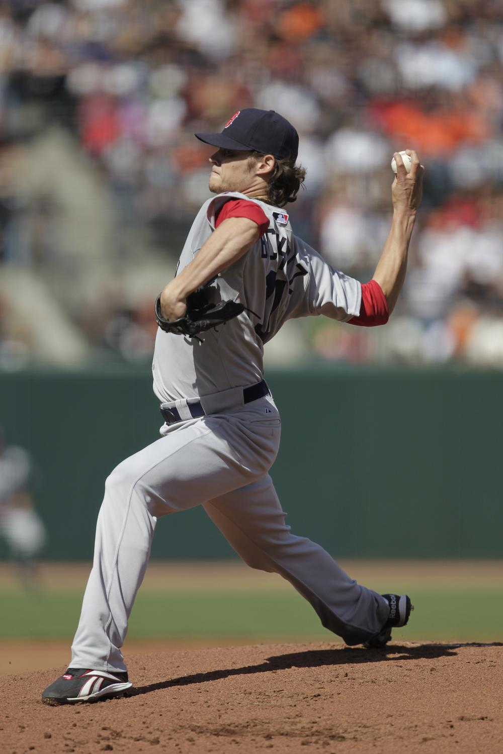 Clay Buchholz pitches against the San Franciso Giants in the first inning in San Francisco on Saturday. (AP)