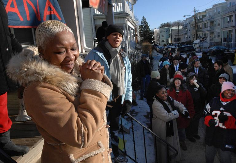 Melonie Griffiths, left, attends a City Life demonstration that successfully delayed her own eviction from her house in Dorchester in 2008. (AP)