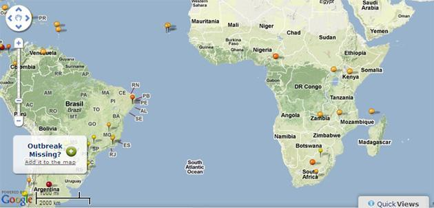 The HealthMap lets researchers and users track diseases around the world.