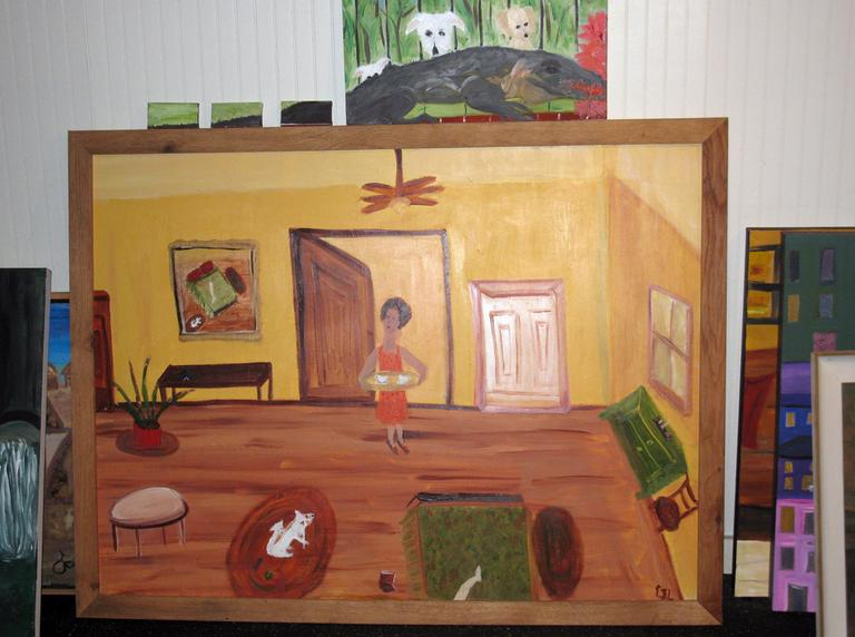 A painting by Langer (Deborah Becker/WBUR)