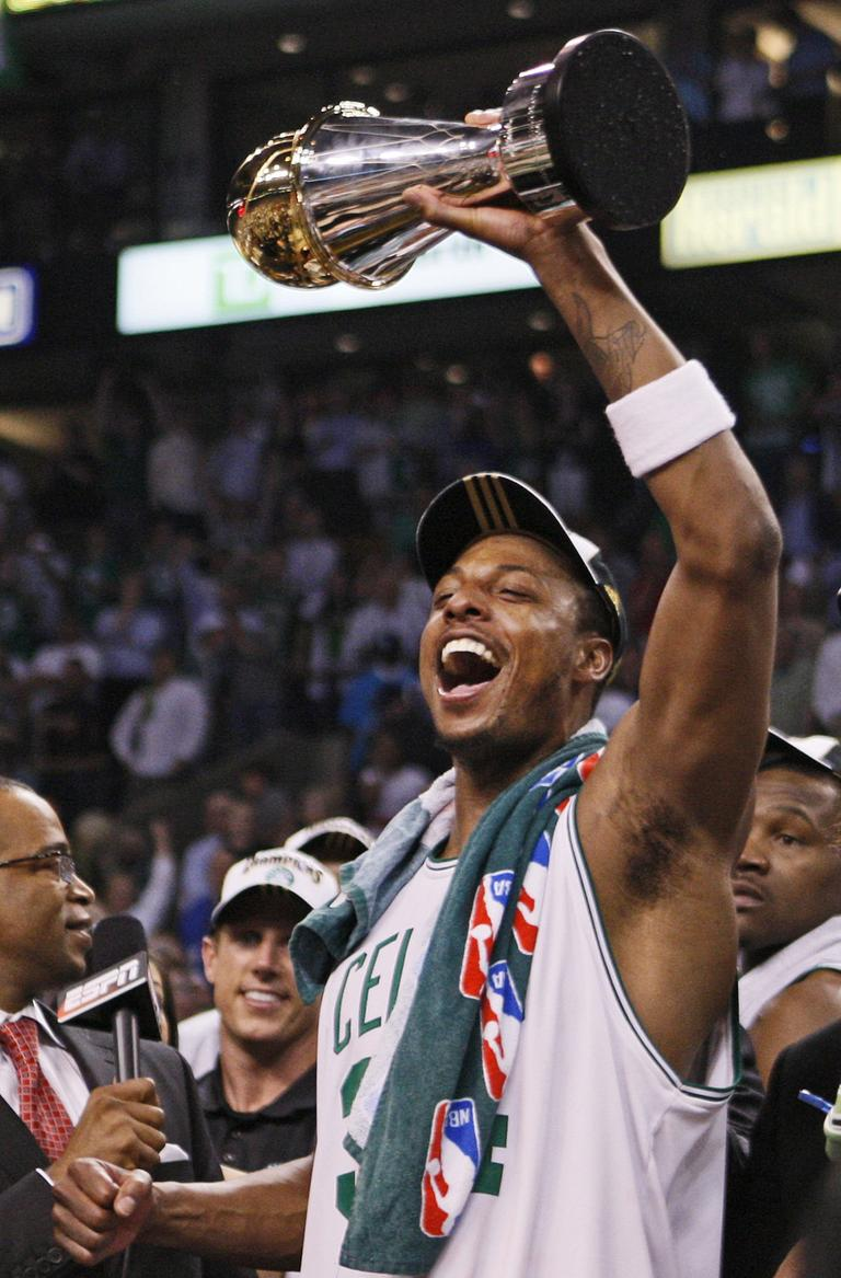 Paul Pierce holds the NBA Finals MVP trophy after the Celtics beat the Los Angeles Lakers to win the 2008 title. (AP)