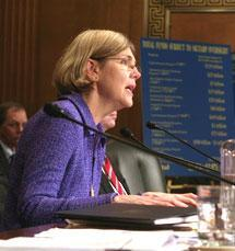 Elizabeth Warren before the Senate Finance Committee in 2009. (AP)