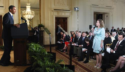 President Barack Obama takes a question from AP correspondent Jennifer Loven during a news conference at the White House, May 27, 2010. (AP)