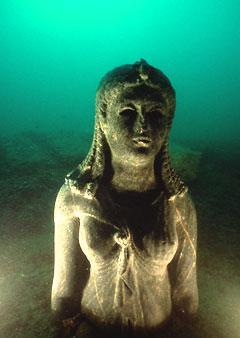 A Graeco-Egyptian statue of a Ptolemaic queen found at the site of Heracleion. (Credit: The Franklin Institute, Franck Goddio/Hilti Foundation, Christoph Gerigk)