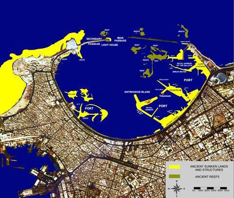 """After fourteen years of electronic probing and underwater archaeological exploration, the outline of the famous Portus Magnus (""""Great Port"""") and the sites of the main monuments have been clearly established. Here the land surface and ancient port infrastructures of the Portus Magnus have been projected onto a satellite image of modern Alexandria. (Credit: EarthSat NaturalVue; Franck Goddio/Hilti Foundation)"""