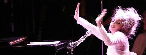 Lady Gaga performs at Carnegie Hall, New York, May 2010. (AP)