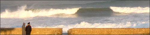 Waves at the edge of the Moroccan capital, Rabat.