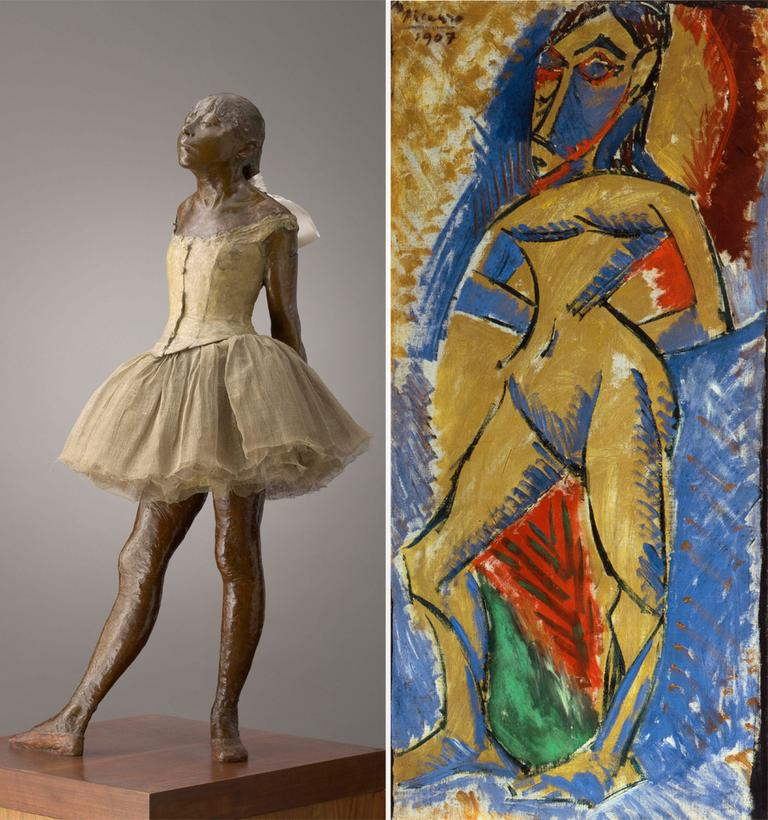"""A sample pairing from """"Picasso Looks At Degas"""" compares Degas' """"Little Dancer Aged 14,"""" left, with Picasso's """"Standing Nude."""" (Courtesy Clark Art Institute)"""