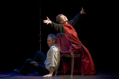 """Nigel Gore, left, and Tina Packer in """"Women of Will,"""" performed by Shakespeare & Company. (Courtesy)"""
