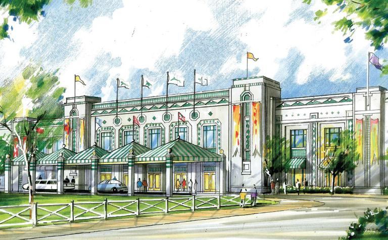 An artist's rendition of the renovated entrance and grandstand at Suffolk Downs. (Courtesy Suffolk Downs)