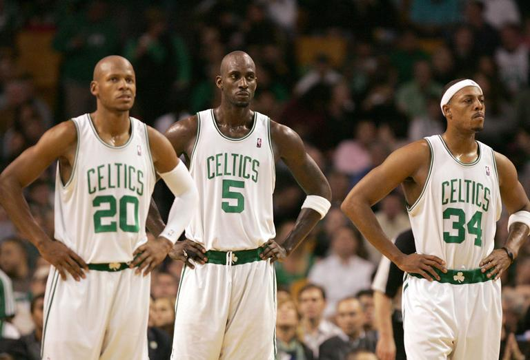 Ray Allen, Kevin Garnett and Paul Pierce. Some say there's a new Big Three in Miami. (AP)