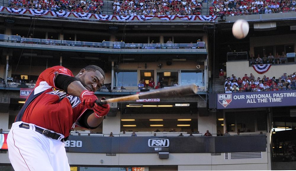 Boston's David Ortiz strikes the ball during the All-Star home run derby on Monday in Anaheim, Calif. (AP)