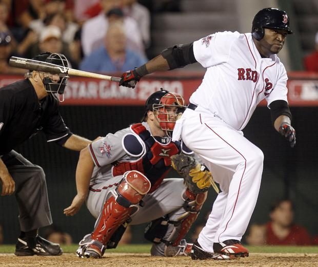 The American League's David Ortiz, of the Boston Red Sox, singles during the ninth inning of the All-Star baseball game on Tuesday in Anaheim, Calif. (AP)