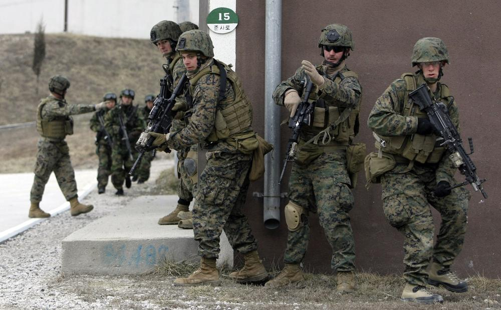U.S. Marines based in Okinawa, Japan, are seen during an exercise at a U.S. military base in South Korea. (AP)