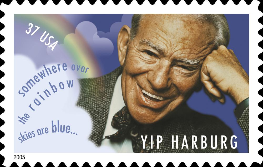 """Yip Harburg is seen on a U.S. postage stamp bearing the lyrics of """"Over The Rainbow."""" (AP)"""