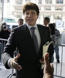 Former Illinois Gov. Rod Blagojevich arrives at the Chicago federal building Tuesday for his trial. (AP)