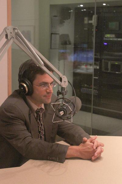 Peter Krupp, one of the attorneys for the Russian spies who lived in Cambridge, in WBUR's Studio 3 (Talia Ralph for WBUR)