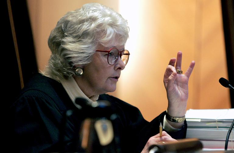 Chief Justice Margaret Marshall is seen during arguments before the Supreme Judicial Court in Boston in 2005, on a petition to halt same-sex couples from marrying until voters can weigh in on the contentious issue. (AP)