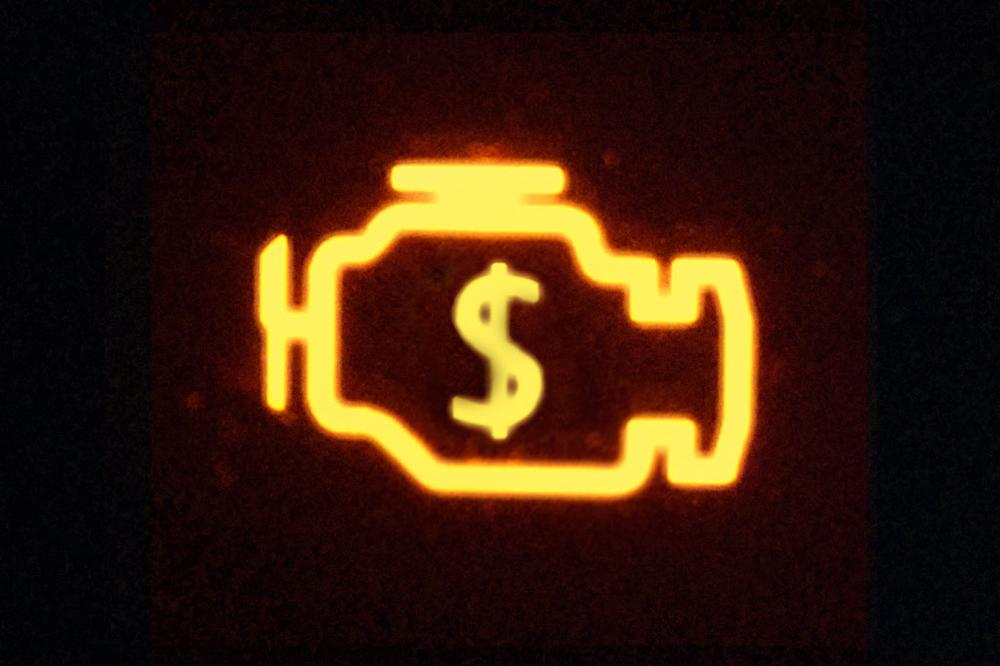 """If you don't get auto repairs done at the dealer, you might be stuck with the dreaded """"Check Engine"""" light. (Photo illustration by Robert Couse-Baker/Flickr)"""