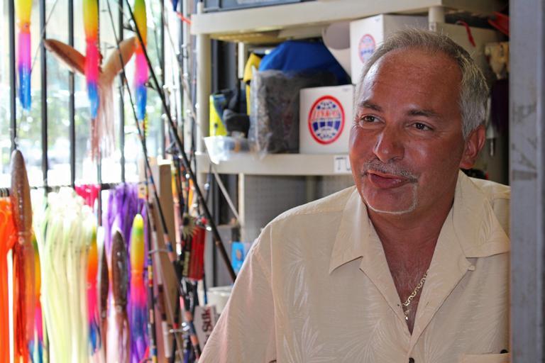 Pete Santini, owner of Fish Finatics in Everett, is your man for bait and intel in Boston Harbor. (Lisa Tobin/WBUR)