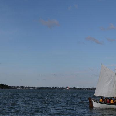 The boat sails through Boston Harbor. (Jess Bidgood for WBUR)