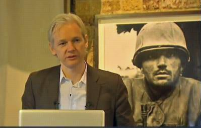 WikiLeaks founder Julian Assange spoke at a news conference at the Frontline Club in central London.