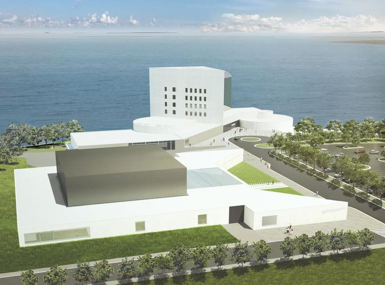 An aerial view of the proposed Edward M. Kennedy Institute (near), adjacent to the John F. Kennedy Presidential Library. (Courtesy of the Edward M. Kennedy Institute)