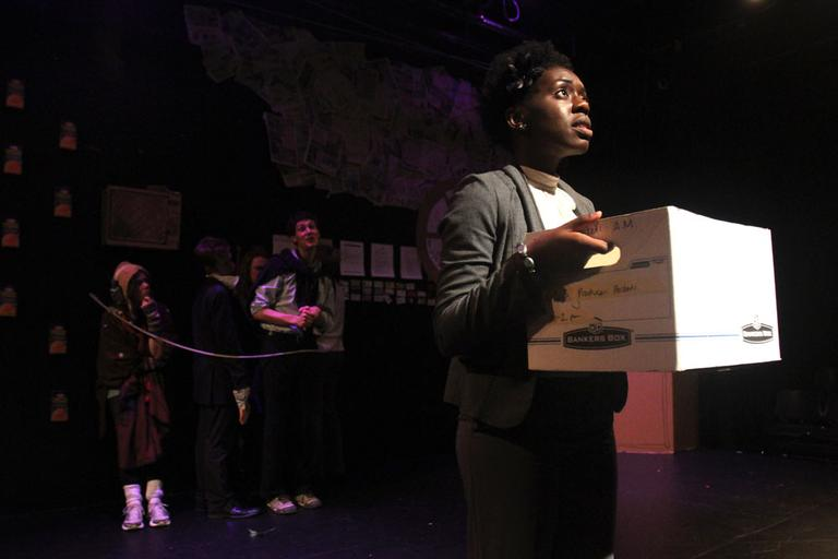"Actress Obehi Janice, right, in ""Candyland: A Recession Comedy."" (Jess Bidgood for WBUR)"