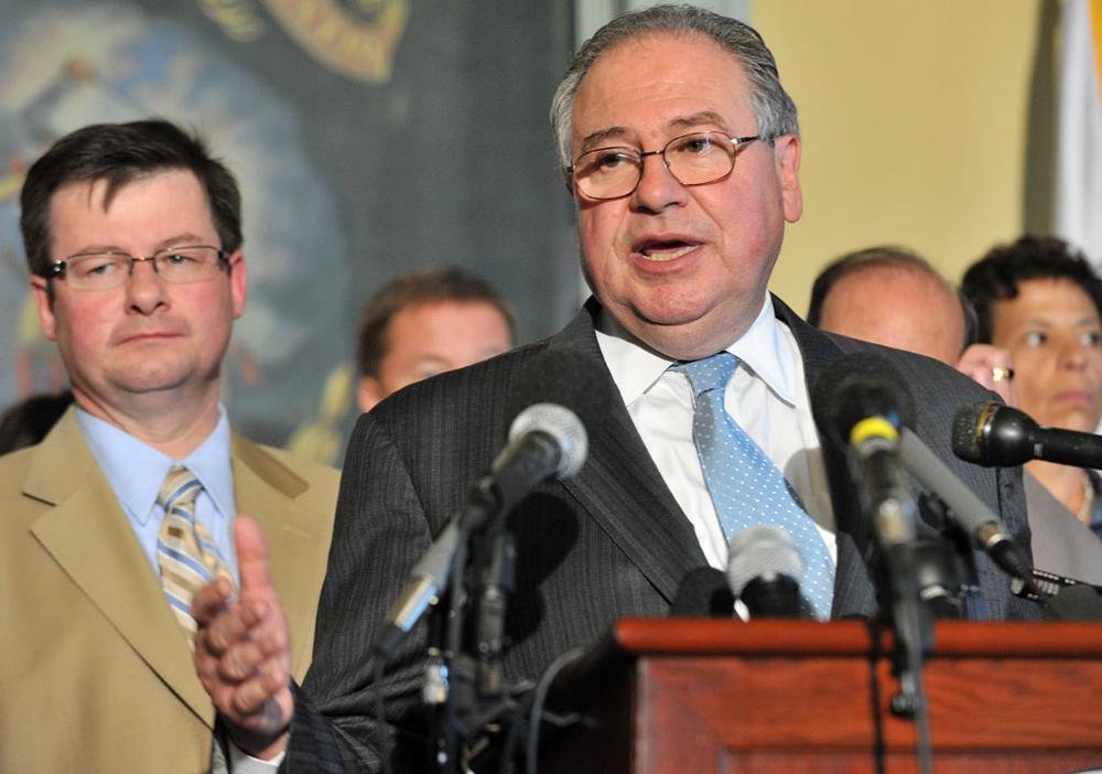 Speaker Robert DeLeo announced a bill approving the licensing of three casinos and two slot parlors at a news conference Friday at the State House. (Josh Reynolds/AP)