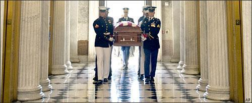 The flag-draped coffin of Sen. Robert Byrd passes through the Capitol in Washington, July 1, 2010. (AP)
