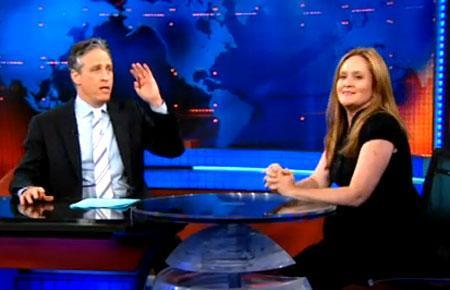 "Samantha Bee and Jon Stewart on ""The Daily Show"" (Credit: TheDailyShow.com)"