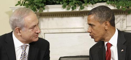 Israeli Prime Minister Benjamin Netanyahu with President Barack Obama in the Oval Office, July 6, 2010. (AP)