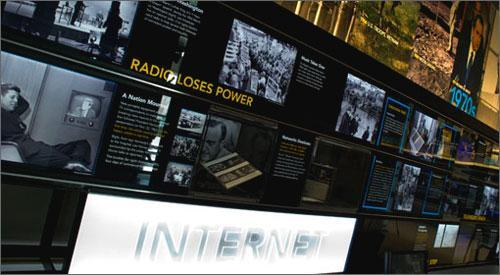 A display at the Newseum in Washington, D.C., featuring the Bloomberg Internet, TV and Radio Gallery. (Credit: Newseum.org)