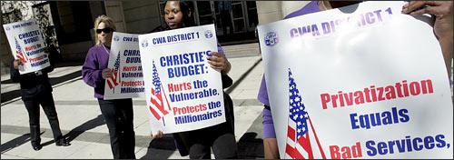 Protest in Trenton, N.J.over pensions and health care benefits. (AP)