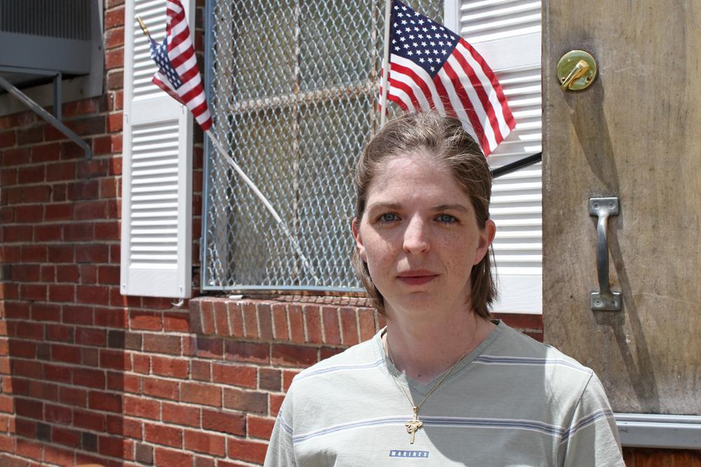 Liz Thompson, a Marine, joined an American Legion post in Watertown after returning from a tour of duty in Iraq. As a young woman, Thompson is a minority in an organization made up largely of older men. (Lisa Tobin/WBUR)