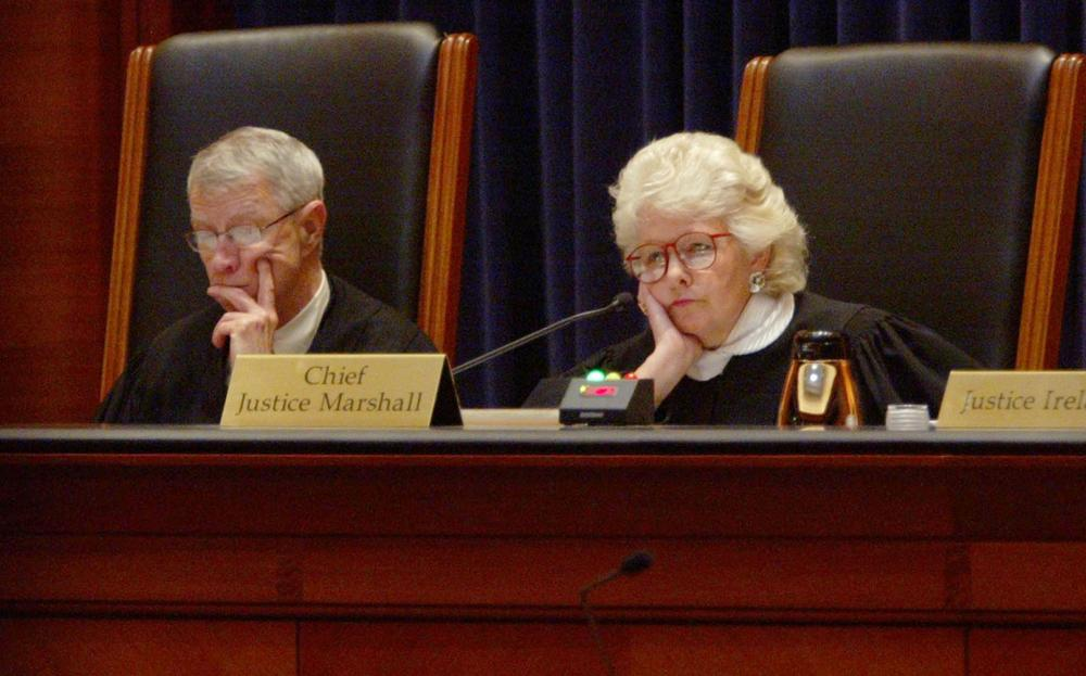 Margaret Marshall, chief justice of the Massachusetts Supreme Judicial Court, and Justice John Greaney, now retired, listen to lawyers' arguments May 4, 2006, in Boston. (AP)