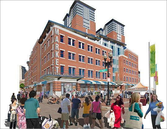 Designer's sketch of the view of the proposed market from the Greenway (Utile Design)