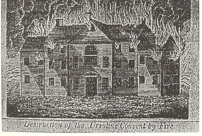 On August 10, 1834, rioters burned down the Charlestown convent. (Courtesy of Northeastern University Press)