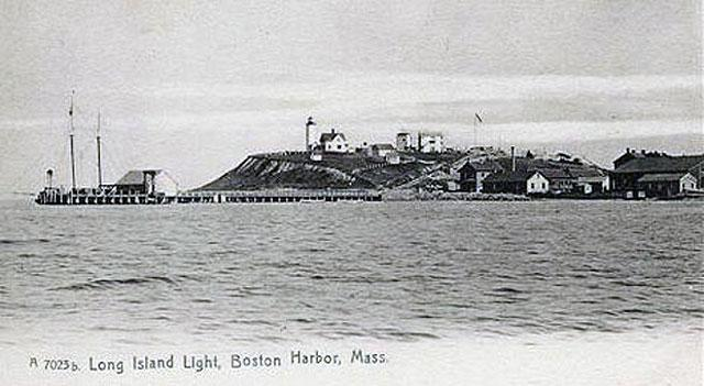 A WWII-era postcard showing Long Island Head, Long Island Light, the lighthouse keeper's house and Fort Strong.