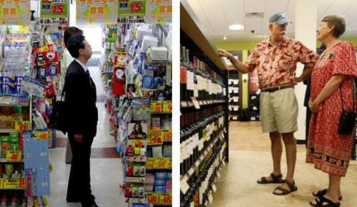 Left: Shoppers look around at a drugstore in Tokyo, 2010. Right: A liquor store in New Hope Pa., 2010. (AP Photos)