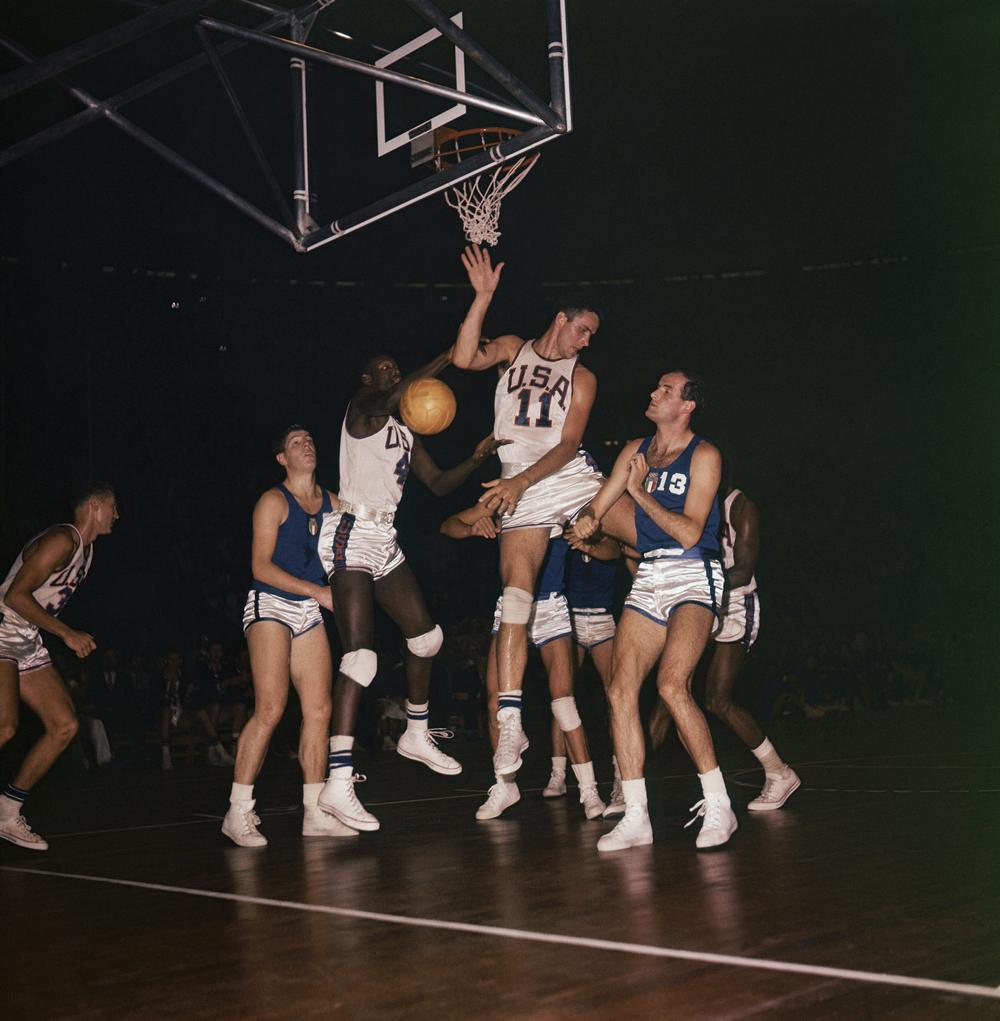 A Olympic basketball game at the 1960 Rome Summer Games on Sept. 8, 1960. The US team featured four future Hall of Famers, including Jerry Lucas (11). (AP)