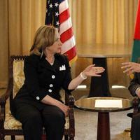 Secretary of State Hillary Rodham Clinton, left, meets with Palestinian Authority President Mahmoud Abbas in Arlington, Va., Tuesday, Aug. 31, 2010.(AP)