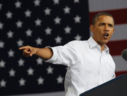 President Barack Obama speaking on the economy at the Milwaukee Laborfest on Monday. (AP)