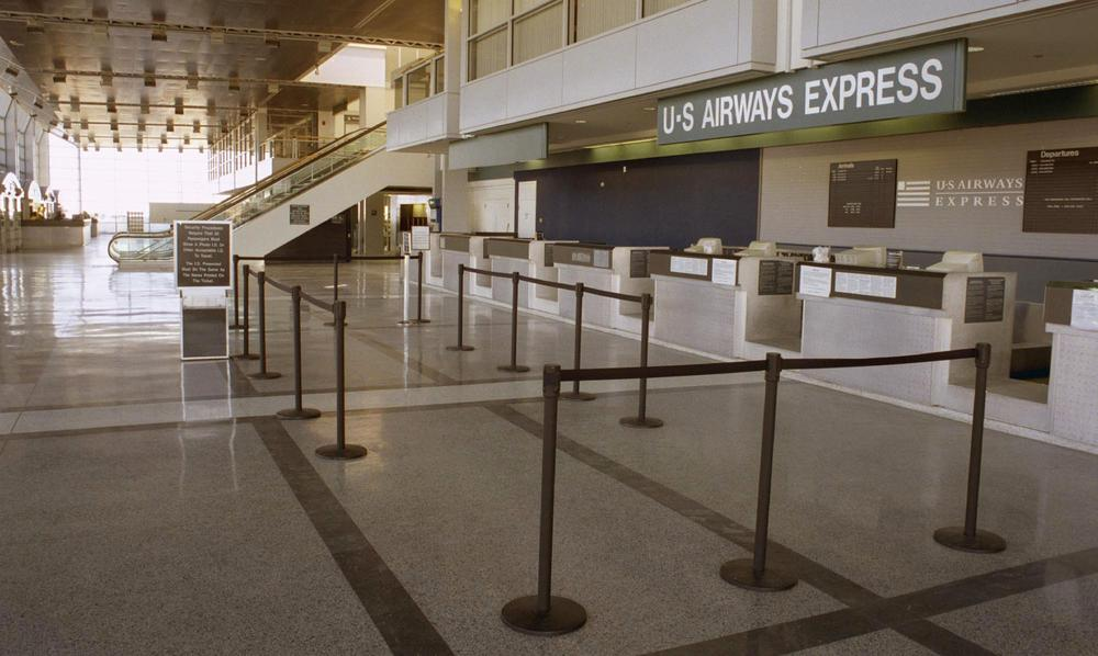 Worcester Regional Airport sits vacant in this January 2003 file photo. US Airways Express has since stopped flying to Worcester. (Christopher Fitzgerald/AP)